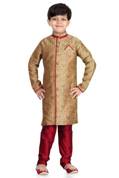 Beige Giccha Silk Kids Sherwani (NKK-477)