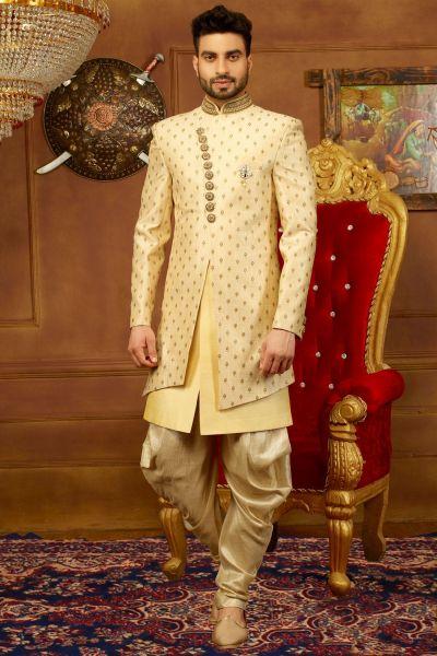 Beige, Gold Art Banarasi Silk 3 Pcs Indo Western (NMK-3919)