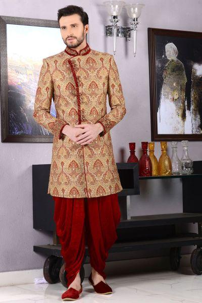 Beige Jaquard Silk Brocade Indo western (NMK-3453)