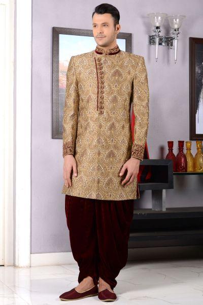 Beige Jaquard Silk Brocade Mens Indo western (NMK-3454)