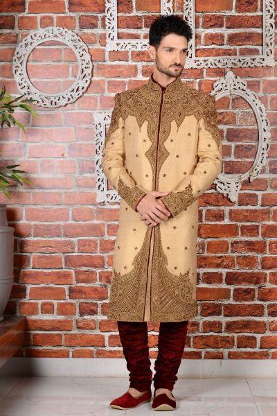 Beige Jaquard Silk Brocade Mens Sherwani (NMK-3466)