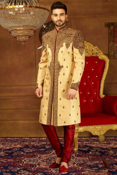 Beige Jaquard Silk Brocade Mens Sherwani (NMK-3903)