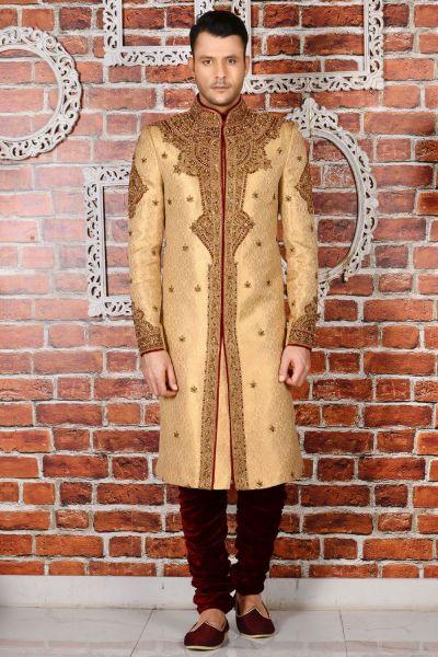 Beige Jaquard Silk Brocade Sherwani for Men (NMK-3467)