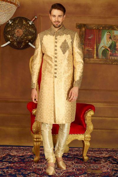 Beige Jaquard Silk Brocade Sherwani (NMK-3902)