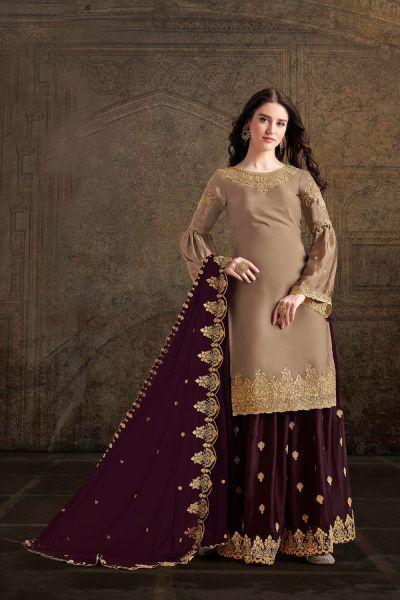 Beige Soft Satin Salwar Kameez (NWS-4887)