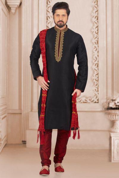 Black Art Banarasi Silk Casual Kurta Pajama (NMK-3992)