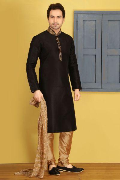 Black Art Banarasi Silk Designer Kurtas (NMK-3683)