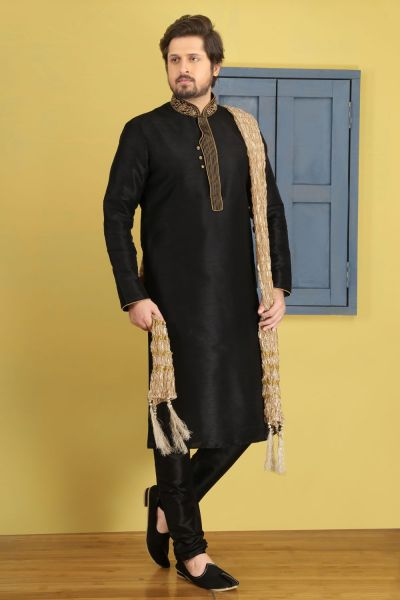 Black Art Banarasi Silk Kurta Pajama (NMK-3680)
