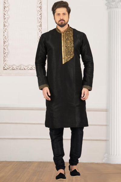 Black Art Banarasi Silk Kurta Pajama (NMK-3978)