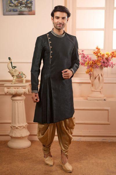 Black Art Banarasi Silk Kurta Pajama (NMK-4474)