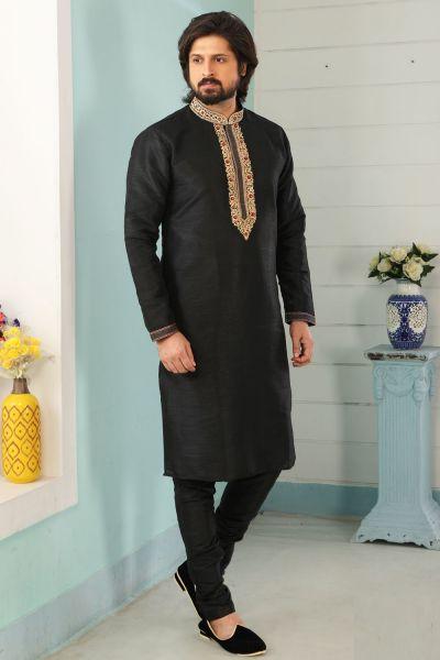 Black Art Banarasi Silk Kurta Pajama (NMK-5042)