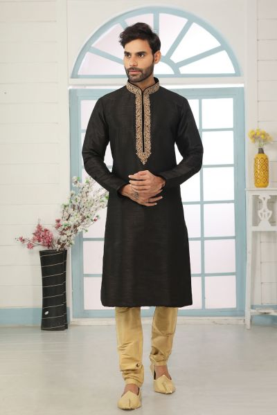 Black Art Banarasi Silk Kurta Pajama (NMK-5071)