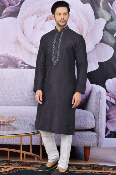 Black Art Banarasi Silk Kurta Pajama(NMK-4631)