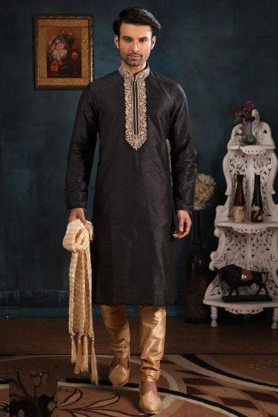Black Art Banarasi Silk Mens Kurta Pajama (NMK-4388)