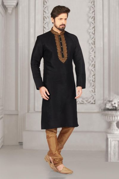 Black Art Banarasi Silk Regular Kurta (NMK-4012)