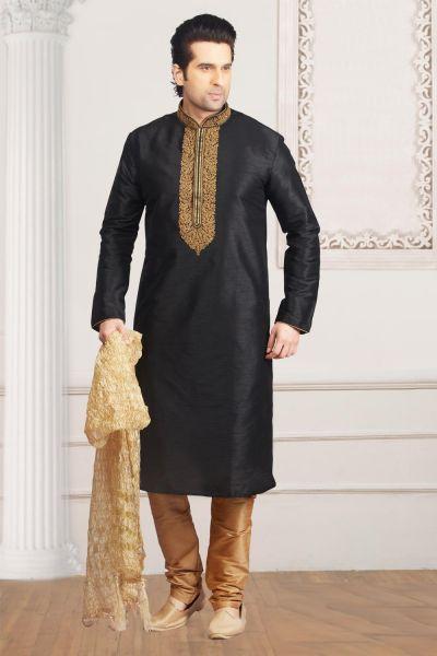 Black Art Banarasi Silk Regular Kurta Pajama (NMK-4010)