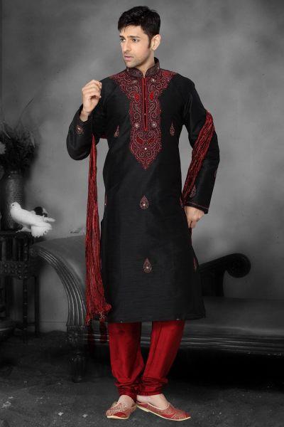 Black Art Dupion Designer Kurta Pajama (NMK-2184)