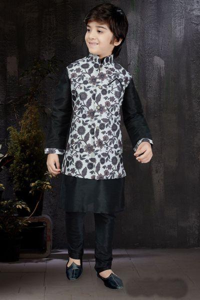 Black Art Dupion Jacket Style Boys Kurta (NKK-595)