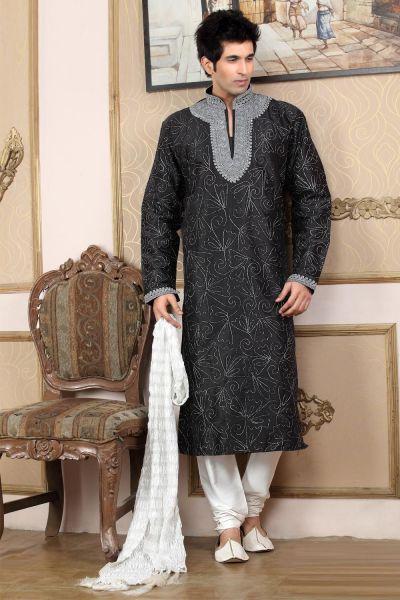 Black Art Dupion Men's Kurta Pajama (NMK-770)