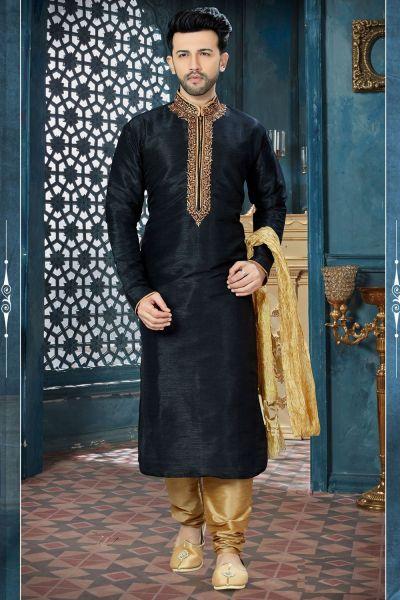 Black Art Dupion Regular Kurta Pajama (NMK-3831)