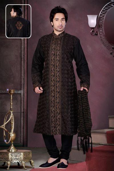 Black Art Dupion Silk Kurta Pajama (NMK-1569)