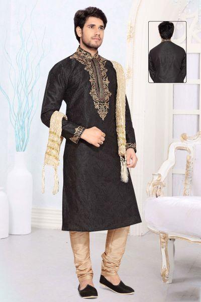 Black Art Silk Designer Kurta Pajama (NMK-2320)