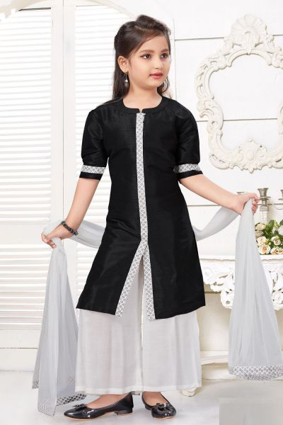 Black Art Silk Girls Salwar Kameez (NFG-229)