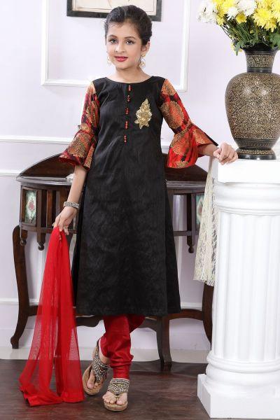 Black Art Silk Girls Salwar Suit (NFG-181)
