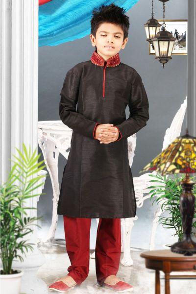 Black Art Silk Regular Kurta Pajama (NKK-334)