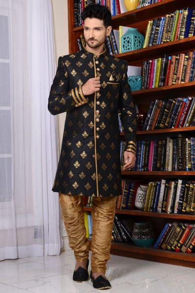 Black Banarasi Silk Brocade Indo western (NMK-3521)