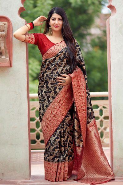 Black Banarasi Silk Party Saree (NWSA-4373)