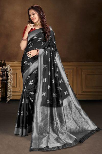 Black Banarasi Silk Saree (NWSA-5105)
