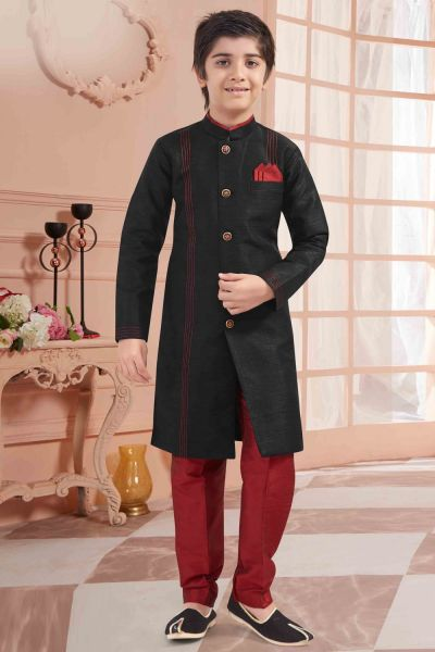 Black Banglori Silk Boys Kurta Pyjama (NKK-672)