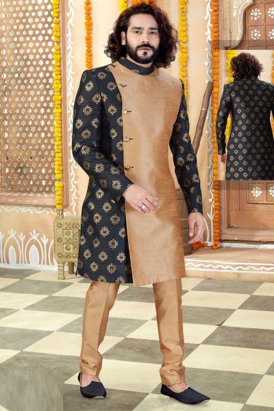 Black, Beige Jaquard, Art Silk Indo Western (NMK-4307)