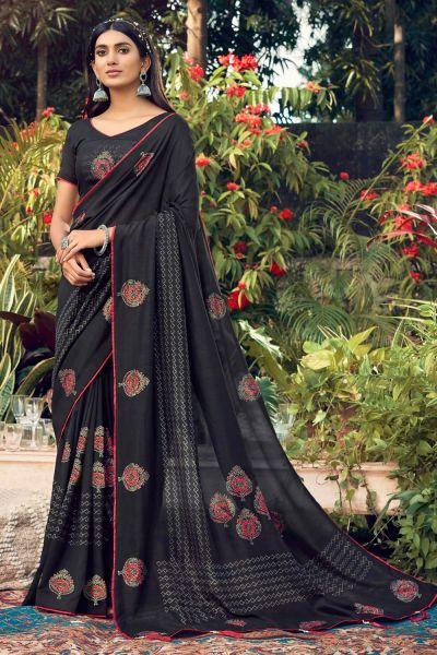 Black Chanderi Silk Saree (NWSA-5019)