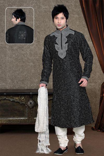 Black Colored Kurta Pajama for Men (NMK-1111)