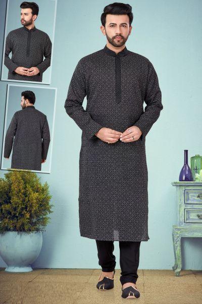 Black Cotton Casual Kurta Pajama (NMK-4831)