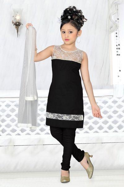 Black Cotton Girls Salwar Kameez (NFG-005)
