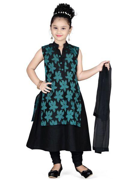 Black Cotton Girls Salwar Kameez (NFG-102)