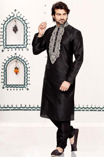 Black Dupion Art Silk Casual Kurta Pajama (NMK-3036)