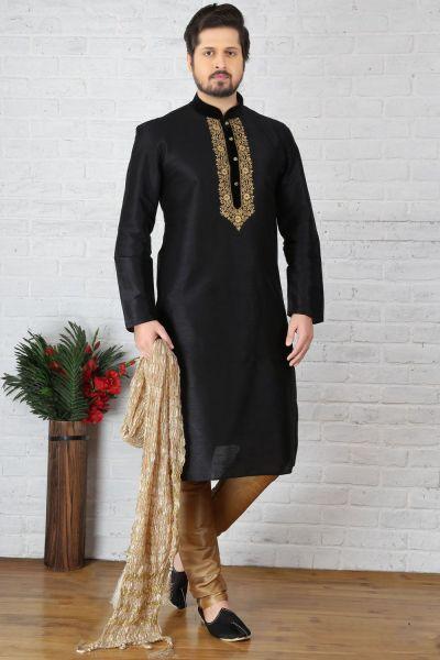 Black Dupion Art Silk Casual Kurta Pajama (NMK-3698)