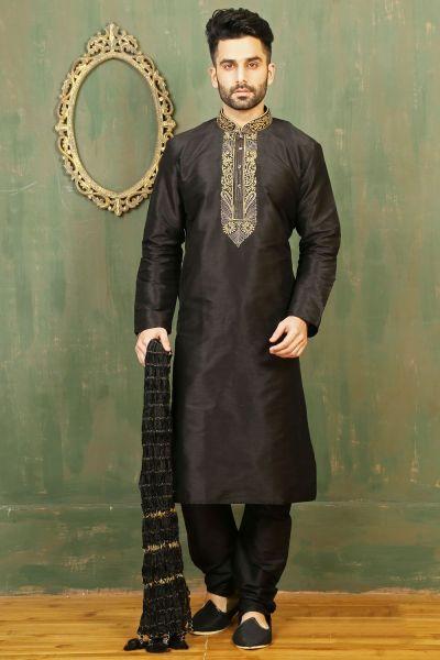 Black Dupion Art Silk Kurta Pajama for Men (NMK-3328)