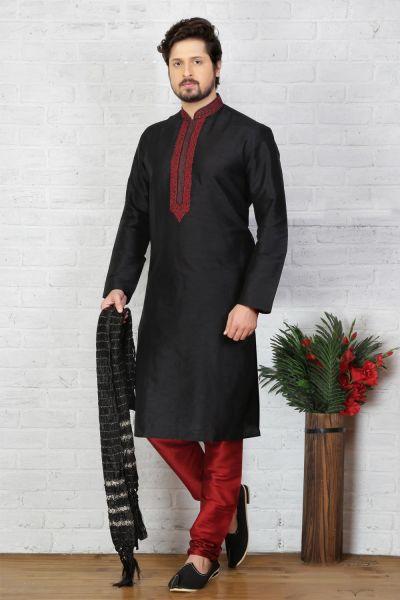 Black Dupion Art Silk Mens Casual Kurta Pajama (NMK-3722)
