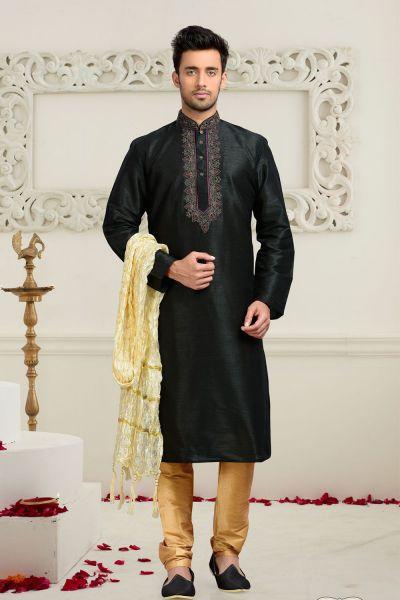 Black Dupion Art Silk Men's Kurta Pajama (NMK-3078)