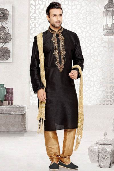 Black Dupion Art Silk Regular Kurta Pajama (NMK-3039)