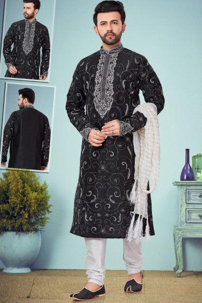 Black Dupion Silk Kurta Pajama for Men (NMK-4838)