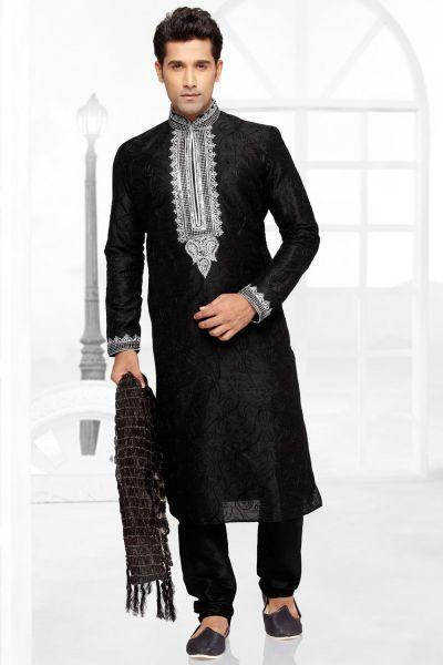 Black Dupion Silk Kurta Pajama (NMK-2780)