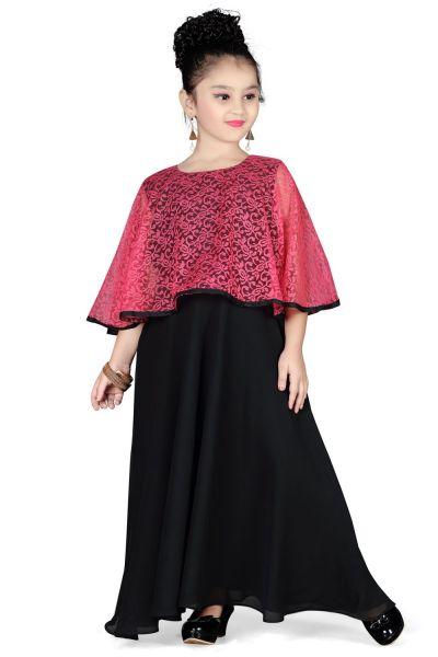 Black Georgette Girls Gown (NFG-115)