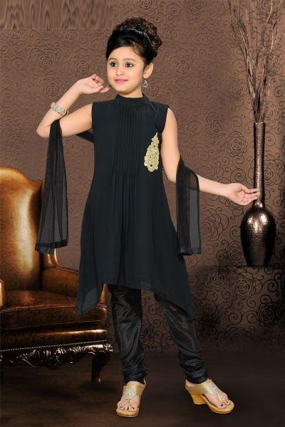 Black Georgette Girls Salwar Kameez (NFG-076)