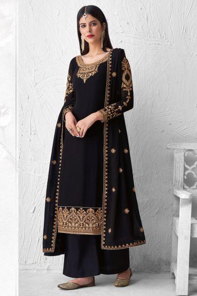 Black Georgette Salwar Kameez (NWS-6028)